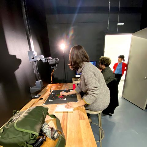 Students in stop-motion studio