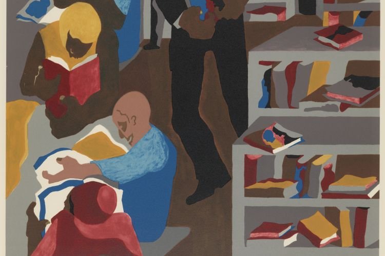 Jacob Lawrence, Schomburg Library, 1987 Silkscreen, 106/200, 26 x 20 in. Gift of Dr. Constance E. Clayton in loving memory of her mother Mrs. Williabell Clayton, PAFA.