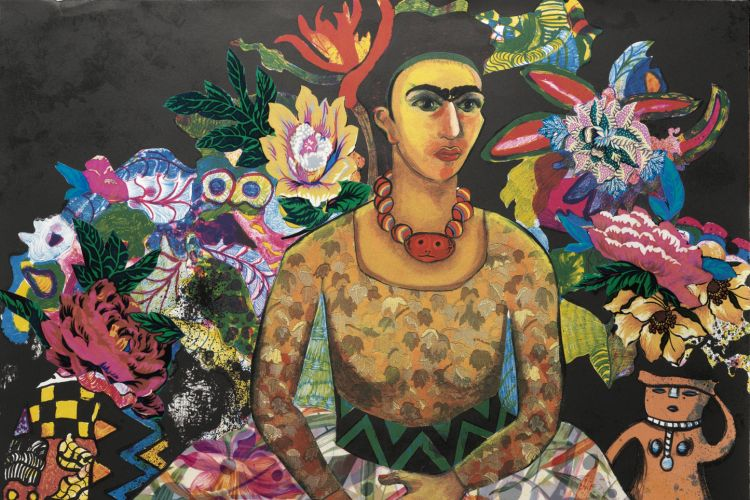 Miriam Schapiro (1923–2015), Frida and Me, 1996 Lithograph with collage elements, 42 x 29 3/4 in., AP Published by the Brodsky Center at PAFA PAFA, Gift of the estate of Miriam Schapiro ©2019 Estate of Miriam Schapiro / Artists Rights Society (ARS), New York