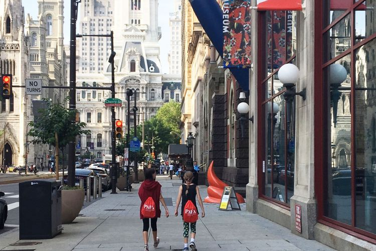 PAFA visitors walking on the Avenue of the Arts
