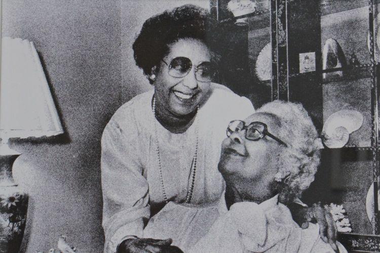 Dr. Constance E. Clayton is photographed with her mother, Williabell Clayton, in whose honor 78 artworks were donated to the Pennsylvania Academy of Fine Arts.