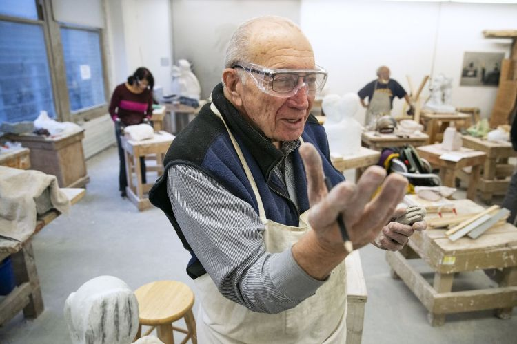 John Ditunno, 87, a spinal cord injury rehabilitation doctor who retired in August from his work at Jefferson Health, talks about his artwork during his sculpting class at the Pennsylvania Academy of the Fine Arts. | Image: Heather Khalifa for the Philadelphia Inquirer