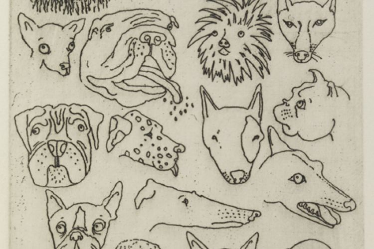 Print by Sue Coe, Untitled (Faces of Dogs)