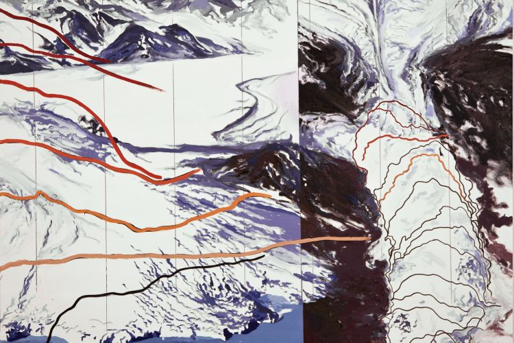 "Columbia Glacier Lines of Recession 1980-2005, 51""x60, 2011"
