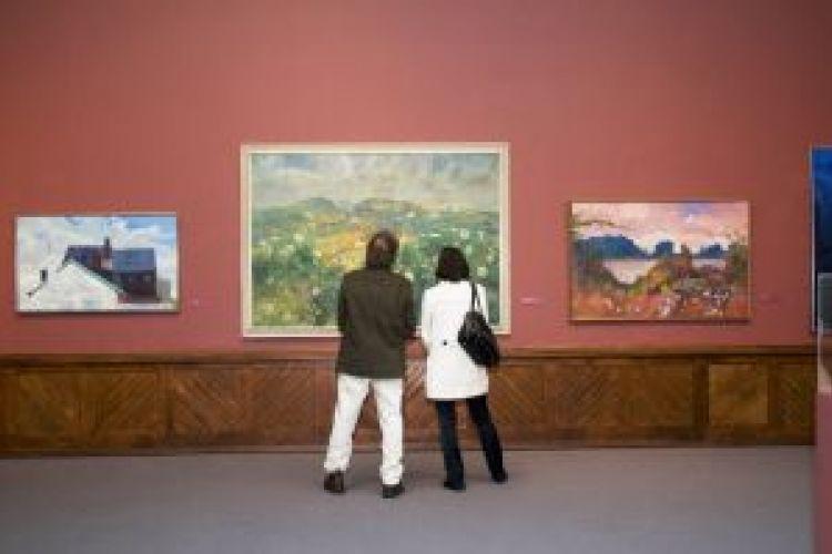 Visitors in the galleries.