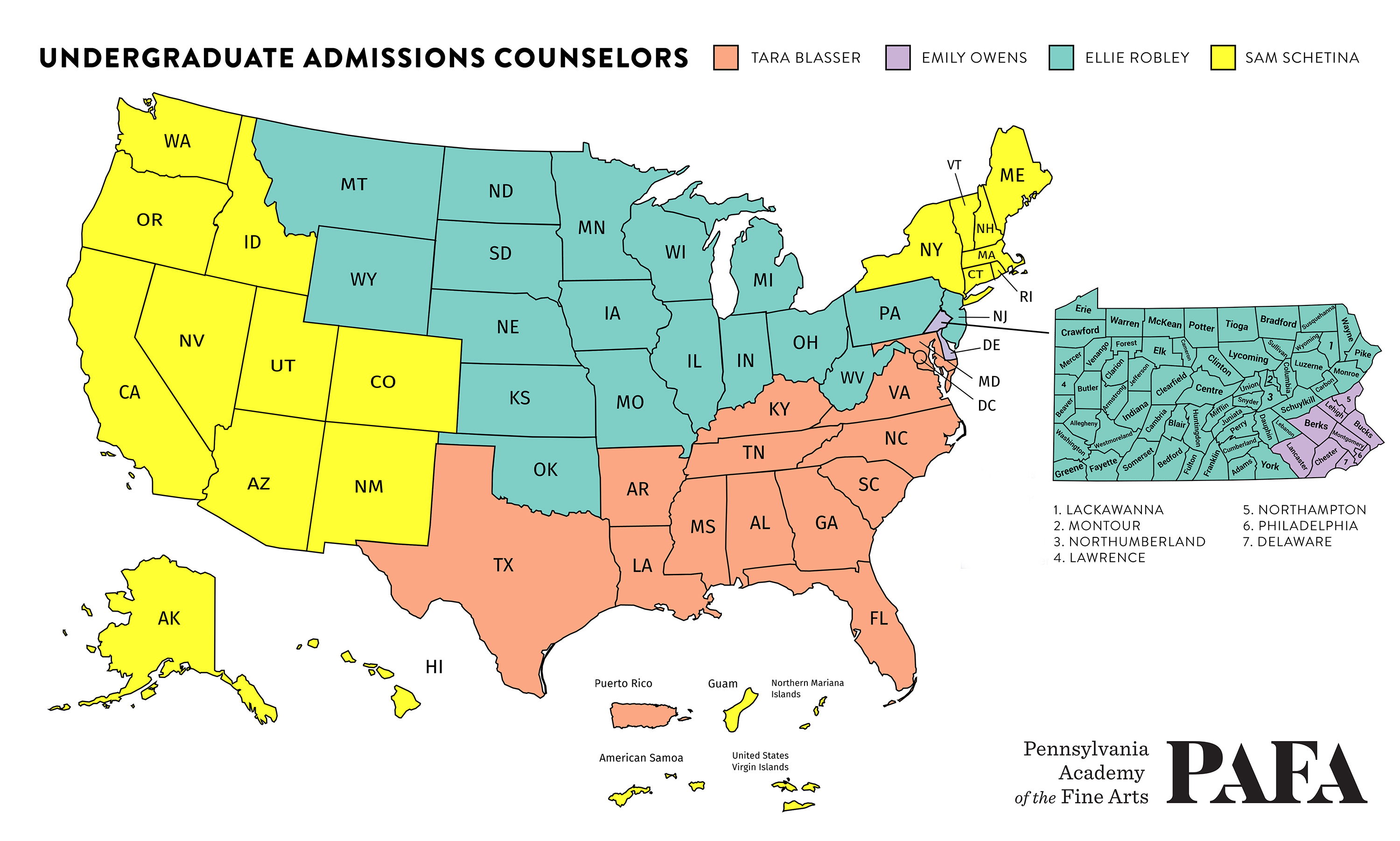 Map of Admissions regions and the corresponding counselors